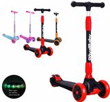 Royalbaby kids children 3 wheels scooter red-black Tilt to Turn LED spin and flash light